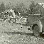 The original barn and corn crib here on Forester farms. The car was a 1947 Willis coupe that belonged to grandad Homer Lee Forester. It was modified to have a wood bed for hauling cotton and other farm products.